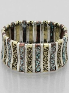 Filigree Stretch Bracelet in Multi Patina