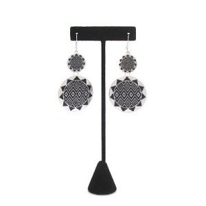 Double Sunburst Earrings in Black & Silver