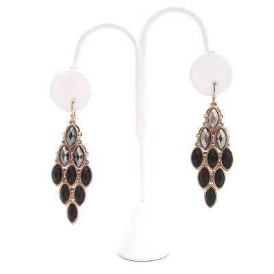 Glamour Girl Earrings in Black/Silver