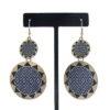 Double Sunburst Earrings in Blue/Black