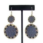 Double Sunburst Earrings in Blue/Black