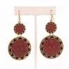 Double Sunburst Earrings in Red/Black