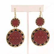 Double Sunburst Earrings in Red/Black