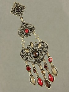 Draught of Vintage Earrings in Red & Tan