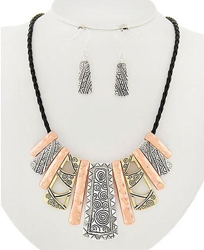 Tribal Necklace in Tri Tone