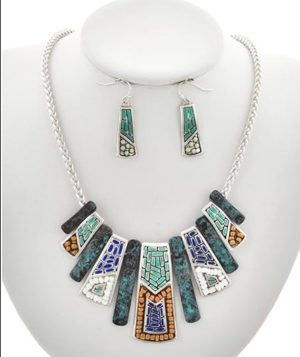 Art Deco Necklace in Blue Patina/Gold