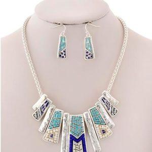 Art Deco Necklace in Silver Tone/Blue