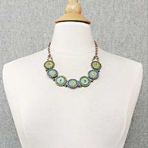 Will It Go Round In Circles Necklace in Green/Purple (neck view)