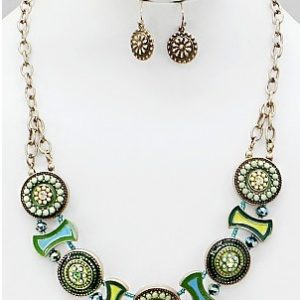 Wheel of Fortune Necklace in Green/Yellow