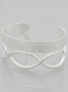 Love You Forever Infinity Cuff in Worn Silver