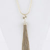 Crystal Tassel Necklace in Gold