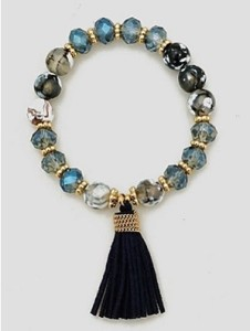 Tie My Tassels Bracelet in Blue