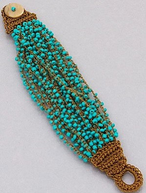 Cluster Seed Bead Bracelet in Turquoise
