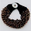 Cluster Seed Bead Bracelet in Black/Bronze