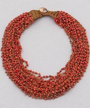 Cluster Seed Bead Necklace in Coral