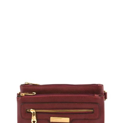Buckle Accent Messenger Bag in Burgundy