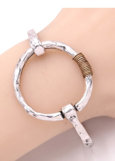 Circle of Trust Bracelet in Hammered Silver Tone