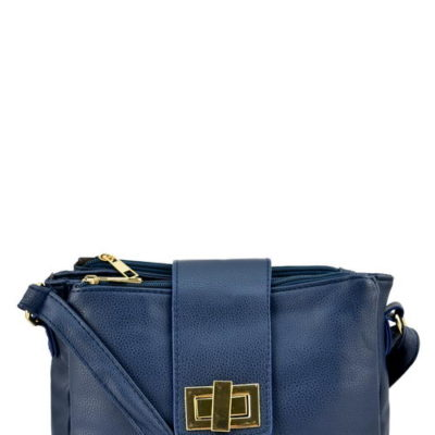 Three Compartment Messenger Bag in Navy