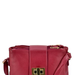 Three Compartment Messenger Bag in Wine