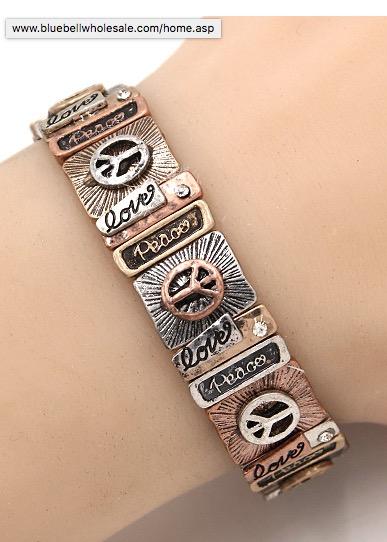 Love & Peace Bracelet in Tri Color